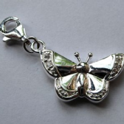 Sterling Silver Cubic Zirconia clip-on Butterfly Charm